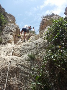Rope climbing to the beach