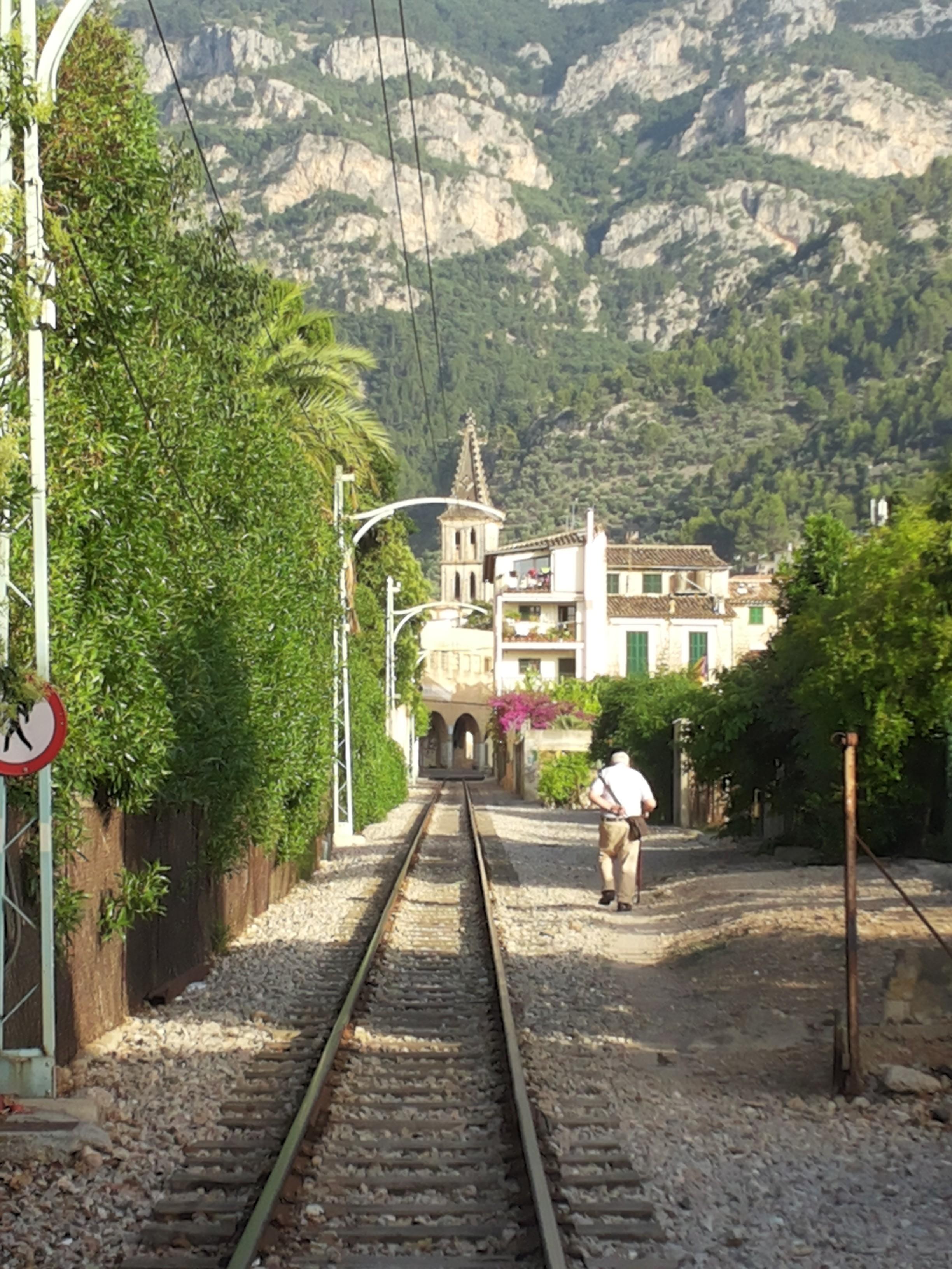 Train track in Soller, Mallorca, Spain
