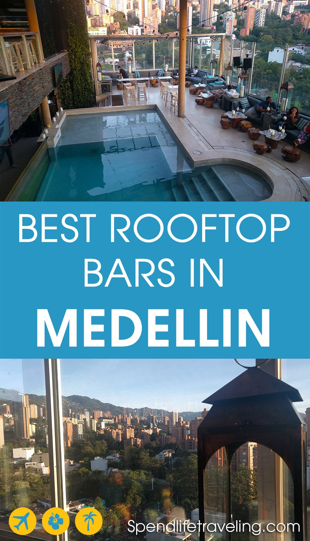 List of the best rooftop bars in Medellin, Colombia. Medellin, nicknamed City of Eternal Spring, is a perfect place to check out some great rooftop bars. From small, casual bars to trendy, upmarket venues. #Medellin #rooftopbar #Colombia #travelColombia