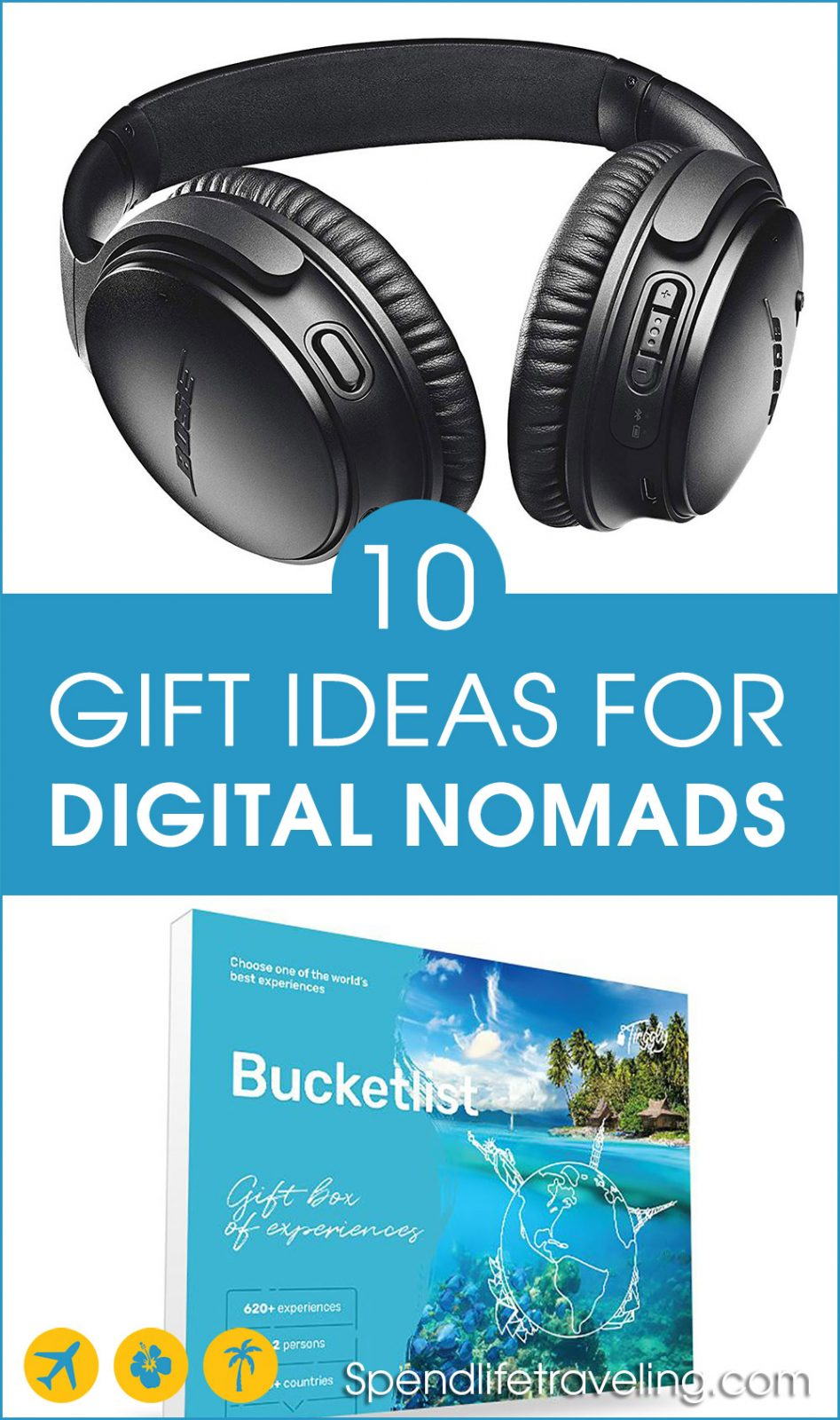 10 gift ideas that are perfect for digital nomads and most business travelers and travel lovers. From experiences to electronics, there is a little something on this list for everyone. #digitalnomad #travelgift #giftideas #nomadgifts