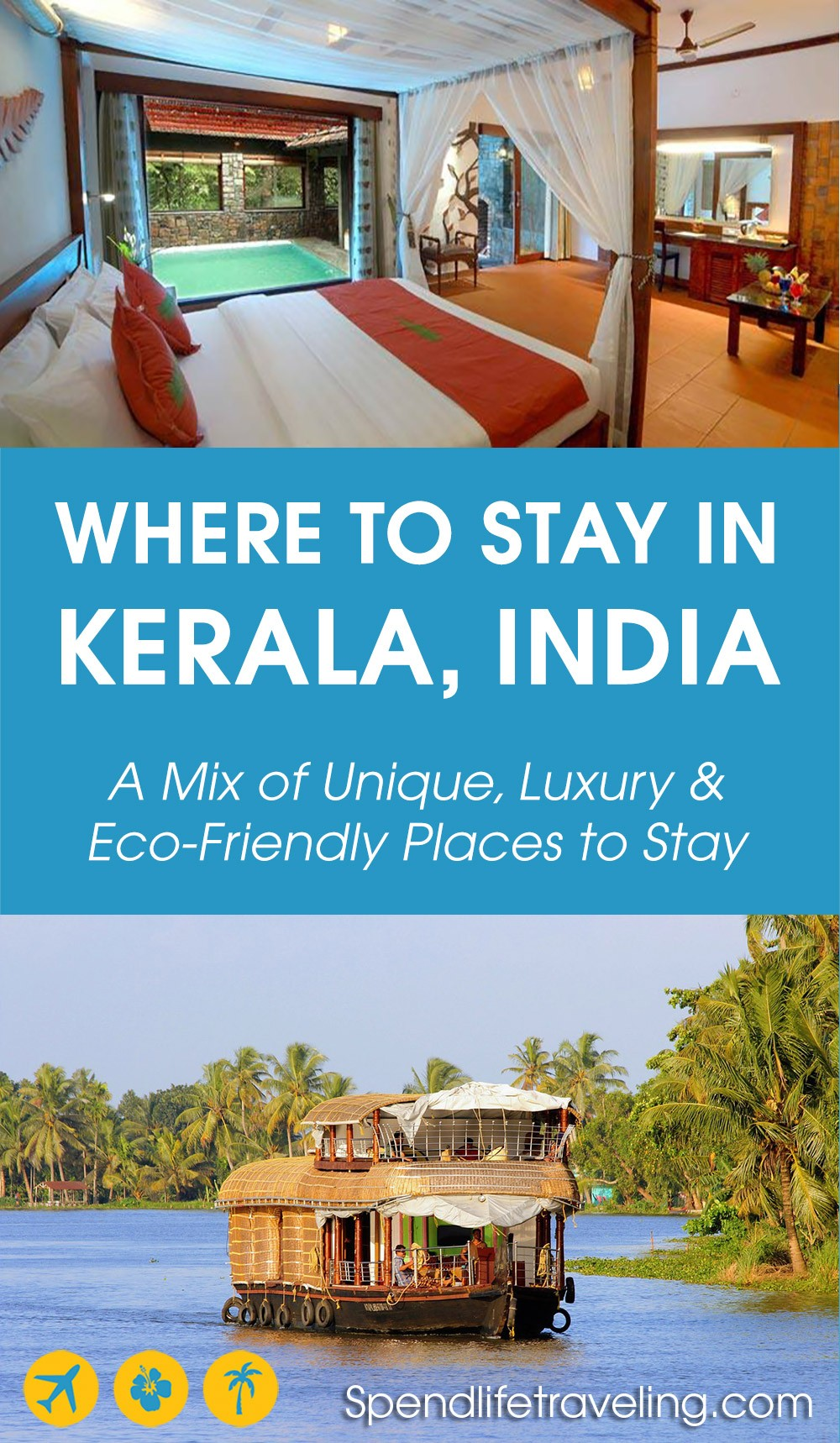 Where to stay in Kerala? A list of some of the best hotels in Kerala: a mix of unique, luxury and eco-friendly places to stay in #Kerala, India. #Indiahotels #travelIndia