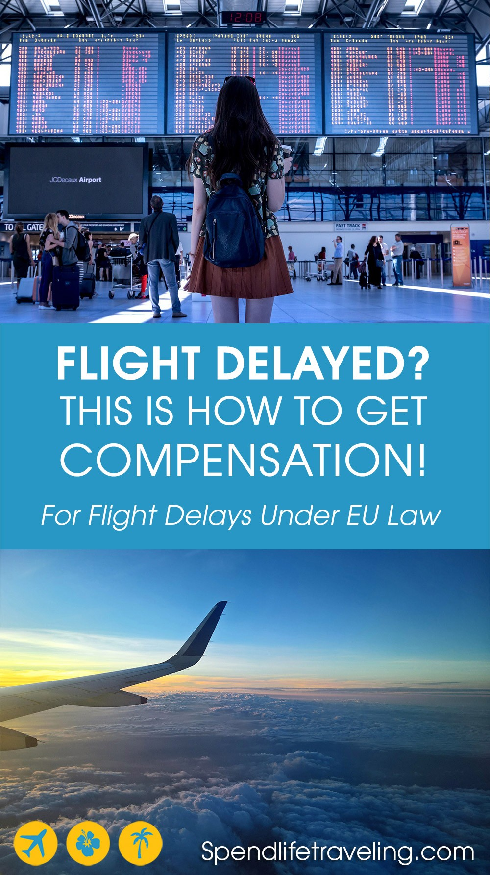 This is what you need to know about if and how you can get compensation for a delayed or cancelled flight. Even if you didn't stay in the EU you could get compensation! #flightcompensation #delayedflight #cancelledflight
