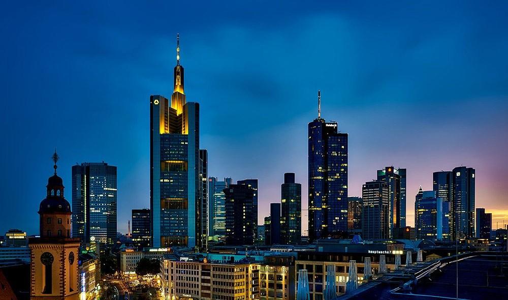 Frankfurt's skyline by night