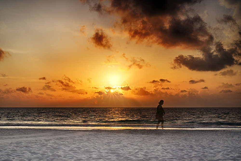 sunset on the beach in Cancun
