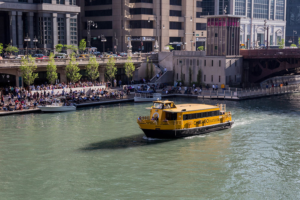 River taxi with the riverwalk in the background