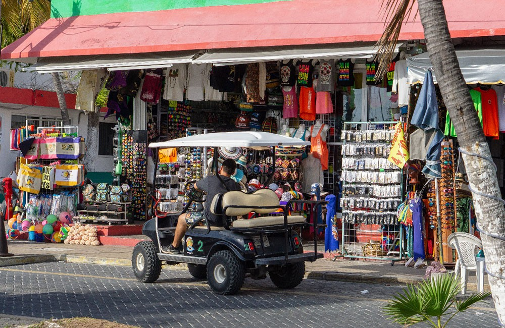 driving around Isla Mujeres in a golf cart