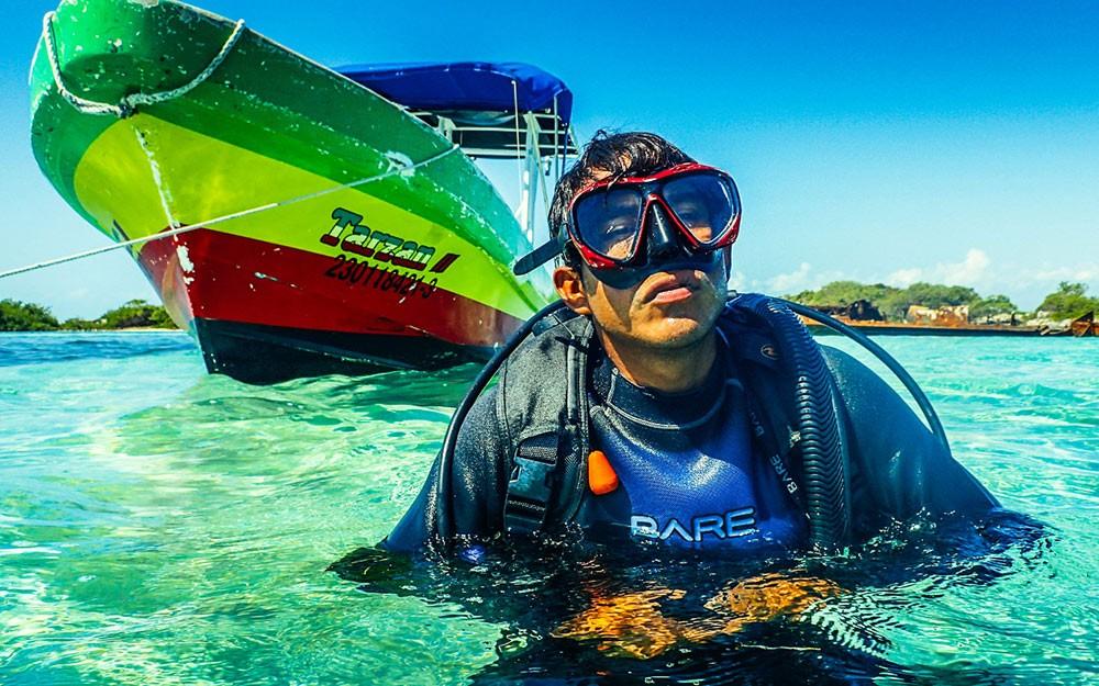 scuba diver getting ready for a dive