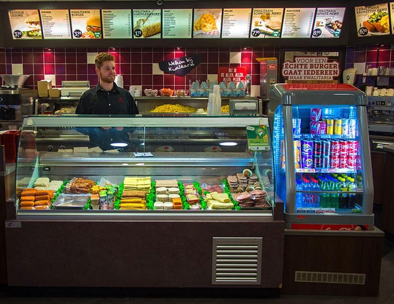Dutch snacks on display in a snack bar