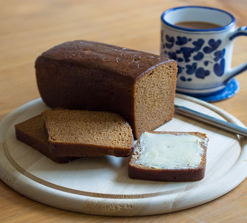 a slice of ontbijtkoek as a Dutch breakfast